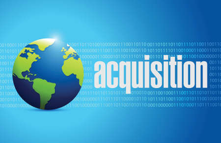 liabilities: acquisition globe sign illustration design over a binary background Illustration