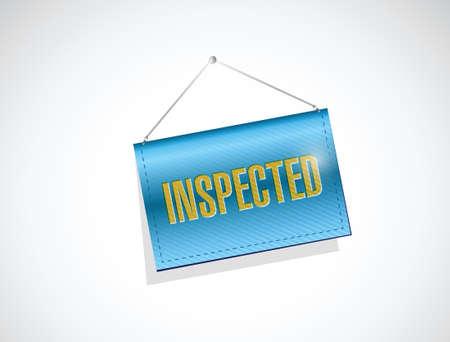 evaluated: inspected banner sign illustration design over a white background Illustration