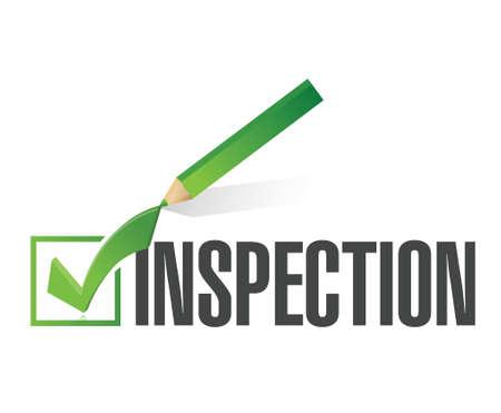 Kontrola inspekcji znak projektowania ilustracji na białym tle