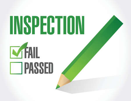 building inspector: fail inspection check list illustration design over a white background