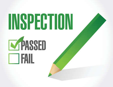 inspeccion: pas� dise�o inspecci�n check list ilustraci�n sobre un fondo blanco Vectores