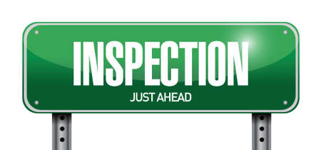 evaluated: inspection road sign illustration design over a white background