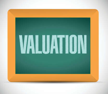 worth: valuation board sign illustration design over a white background