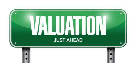 valuation road sign illustration design over a white background