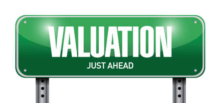 valuation: valuation road sign illustration design over a white background