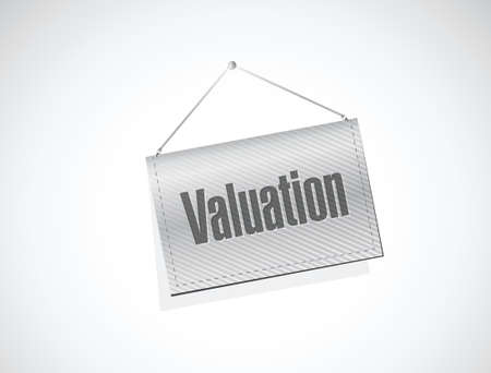 valuation hanging banner illustration design over a white background Illustration