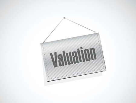 valuation hanging banner illustration design over a white background Vector