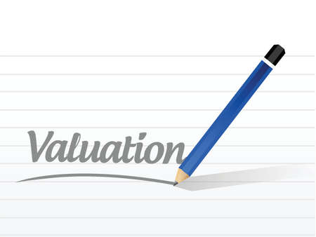 valuation: valuation message sign illustration design over a white background