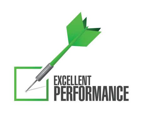 excellent performance check dart illustration design over a white background 일러스트
