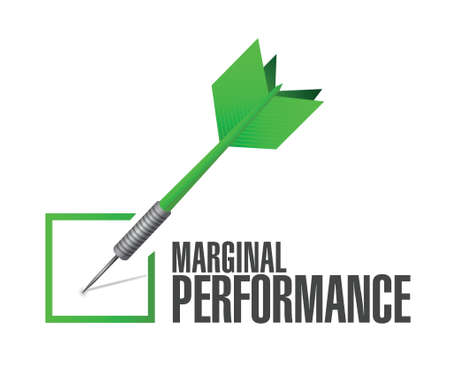 satisfactory: marginal performance check dart illustration design over a white background Illustration