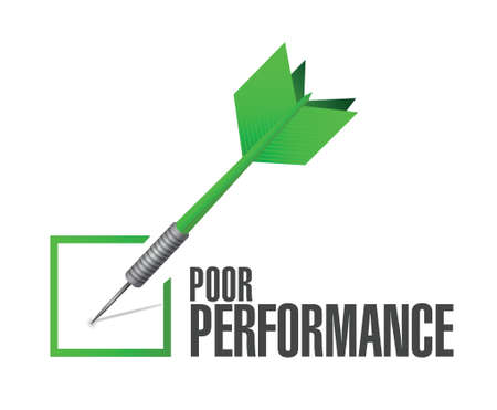 satisfactory: poor performance check dart illustration design over a white background