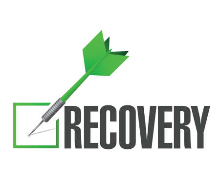 economic recovery: recovery performance check dart illustration design over a white background