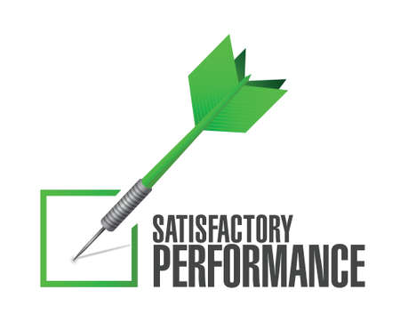 satisfactory: satisfactory performance check dart illustration design over a white background