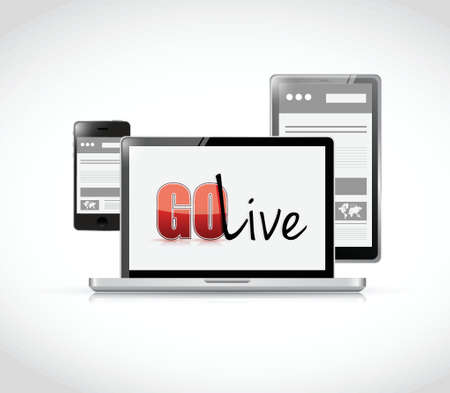 go live website responsive illustration design over a white background Ilustração