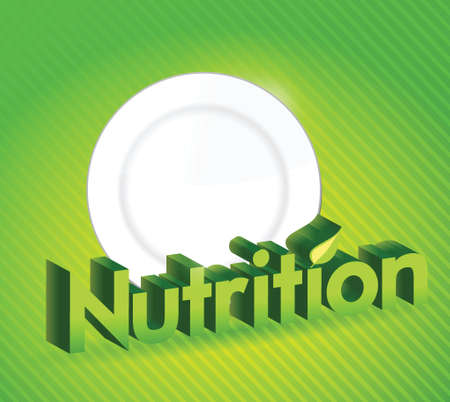 subsistence: nutrition sign and food plate illustration design over a green background