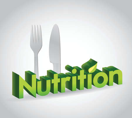 subsistence: nutrition sign and utensils. illustration design over a white background