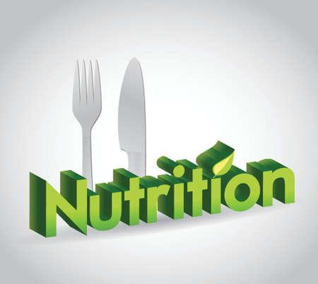 nutrition sign and utensils. illustration design over a white background