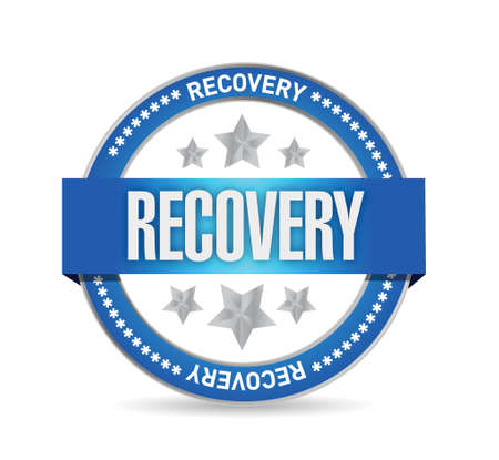 economic recovery: recovery seal illustration design over a white background