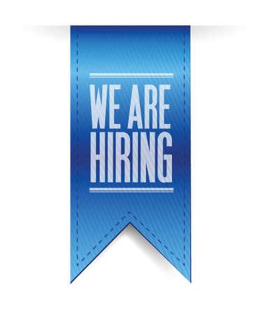 we are hiring hanging banner illustration design over a white background