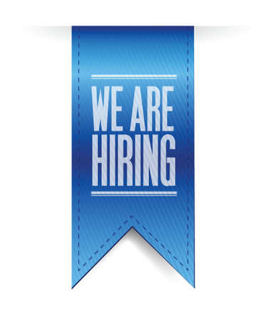 hiring: we are hiring hanging banner illustration design over a white background
