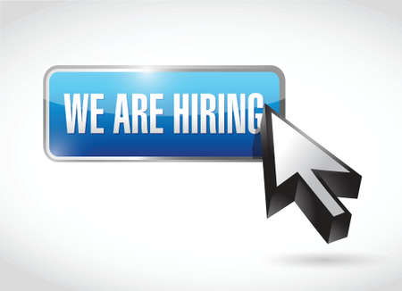 we are hiring button illustration design over a white background