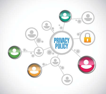 red de personas: pol�tica de privacidad ilustraci�n red de personas de dise�o sobre un fondo blanco