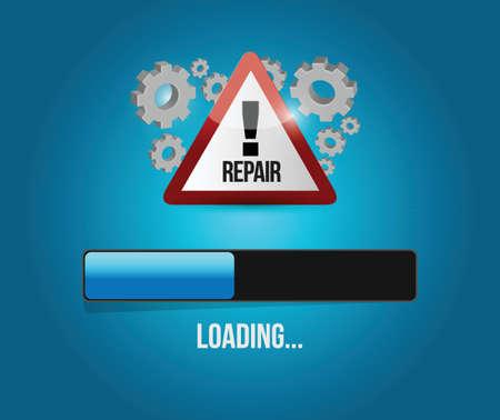 hardware repair: virus reparation update concept illustration design over a blue background Illustration