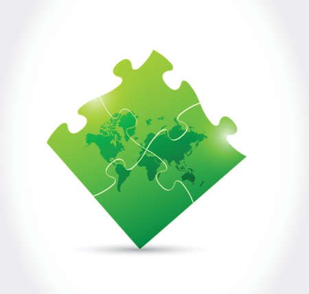 world map green puzzle game illustration design over a white background Vector