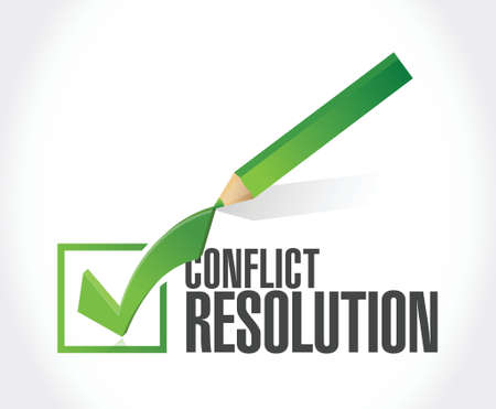 compromising: conflict resolution check mark illustration design over a white background