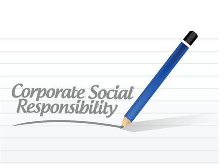 corporate social: CSR responsabilit� sociale messaggio illustrazione corporate design su uno sfondo bianco