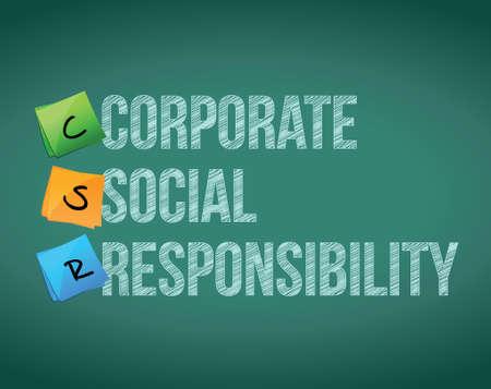 corporate social: responsabilit� sociale messaggi di bordo illustrazione corporate design su sfondo lavagna