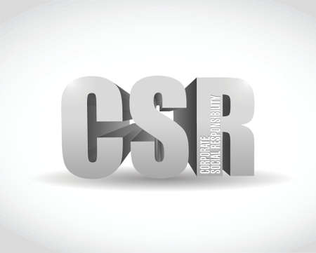 csr 3d sign illustration design over a white background Vector
