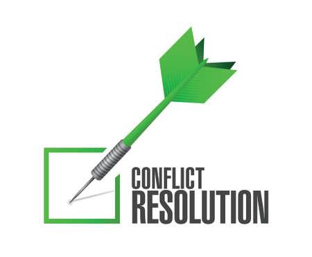 compromise: resoluci�n de conflictos ilustraci�n cheque dardo dise�o sobre un fondo blanco