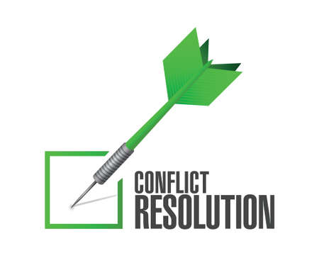 conflict resolution check dart illustration design over a white background