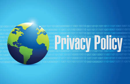 privacy policy international sign illustration design over a blue binary background