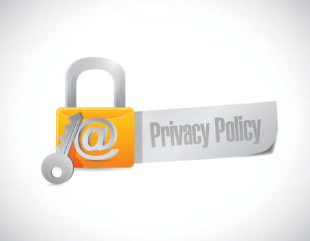 privacy policy lock sign illustration design over a white background Illusztráció