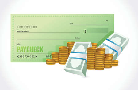 paycheck and money illustration design over a white background