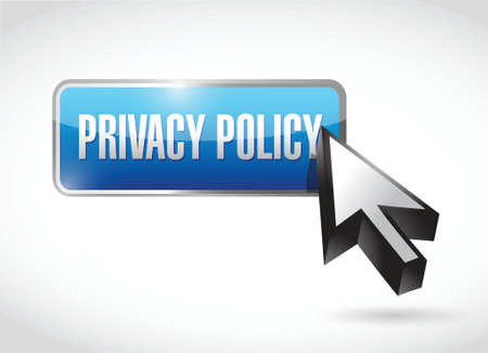 privacy policy button and cursor illustration design over a white background