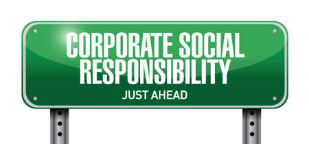 corporate social: la responsabilit� sociale delle imprese design illustrazione su uno sfondo bianco Vettoriali