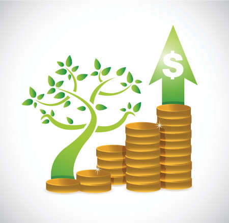 tree coin dollar graph illustration design over a white background
