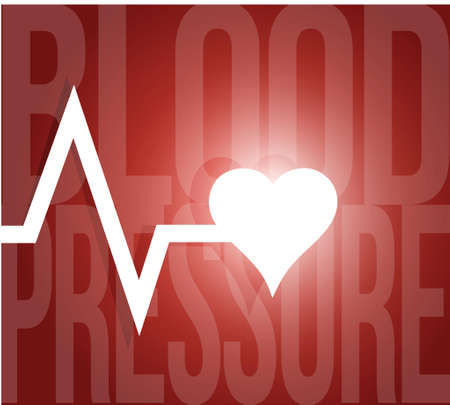 blood pressure monitor: blood pressure lifeline illustration design over a red background