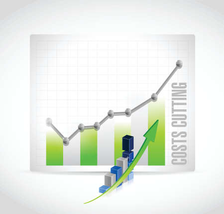 time deficit: costs cutting business graph illustration design over a white background