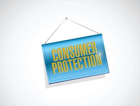 activism: protecci�n de los consumidores colgando dise�o ilustraci�n de la bandera sobre un fondo blanco