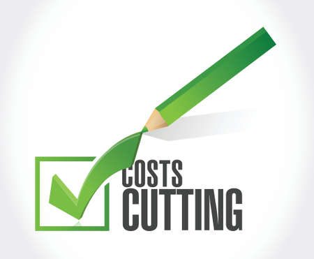 cutting costs: costs cutting check mark illustration design over a white background
