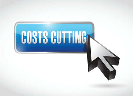 time deficit: costs cutting button illustration design over a white background