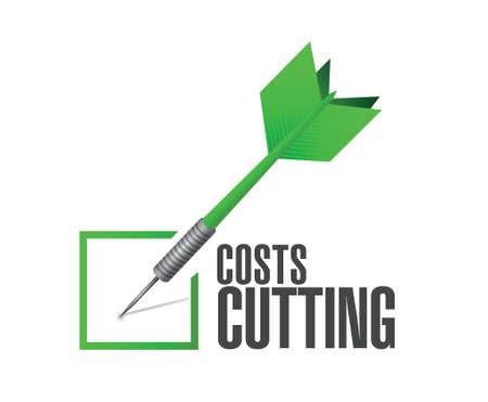 kostenbesparing dart vinkje illustratie ontwerp op een witte achtergrond Stock Illustratie