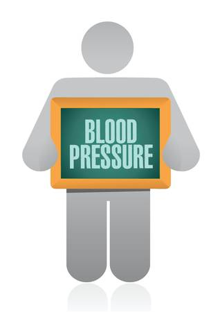 blood pressure monitor: icon holding a blood pressure sign. illustration design over a white background Illustration