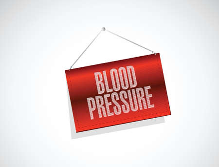 blood pressure monitor: blood pressure hanging banner illustration design over a white background