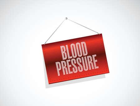 blood pressure hanging banner illustration design over a white background