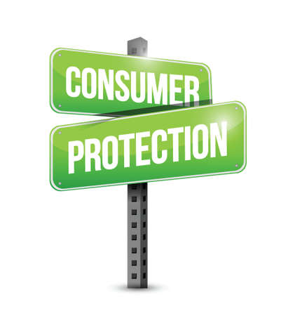 consumer protection: consumer protection road sign illustration design over a white background